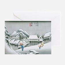 Night Snow at Kambara by Hiroshige Greeting Card