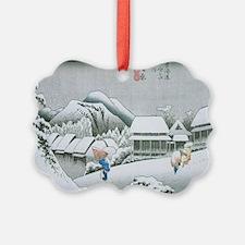 Night Snow at Kambara by Hiroshig Ornament