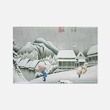 Night Snow at Kambara by Hiroshig Rectangle Magnet
