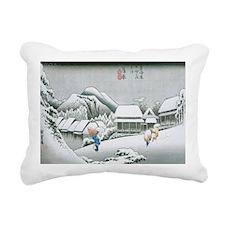 Night Snow at Kambara by Rectangular Canvas Pillow