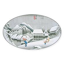 Night Snow at Kambara by Hiroshige Decal