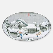 Night Snow at Kambara by Hiroshige Sticker (Oval)
