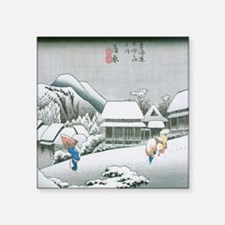 "Night Snow at Kambara by Hi Square Sticker 3"" x 3"""