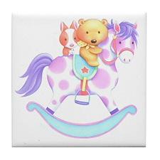 Rocking horse, bear and bunny Tile Coaster