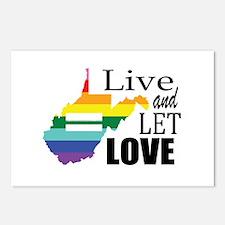West Virginia live let love sq blk font Postcards