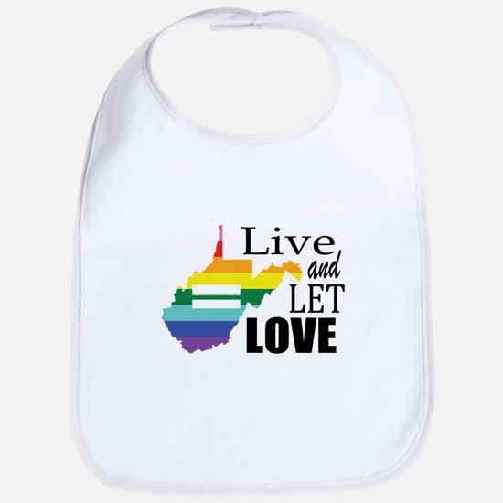 West Virginia live let love sq blk font Bib