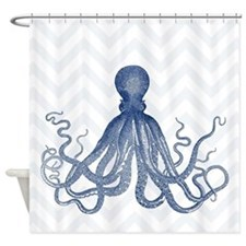 Chevron Octopus Lt Shower Curtain