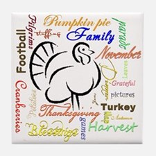 Thanksgiving words Tile Coaster