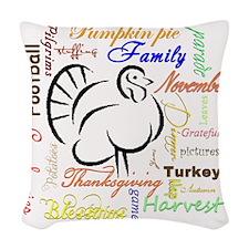 Thanksgiving words Woven Throw Pillow