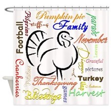 Thanksgiving words Shower Curtain