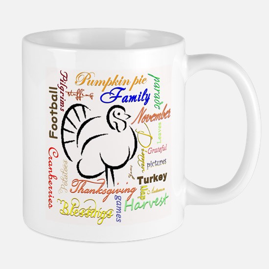 Thanksgiving words Mugs