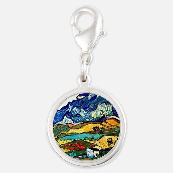 Van Gogh - Les Alpilles Mounta Silver Round Charm
