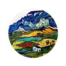 """Van Gogh - Les Alpilles Mountain Lands 3.5"""" Button"""