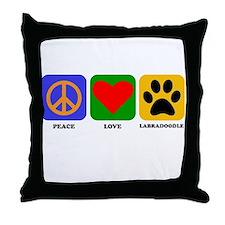 Peace Love Labradoodle Throw Pillow