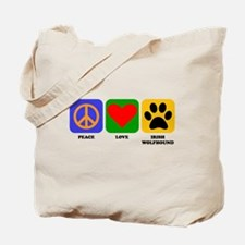 Peace Love Irish Wolfhound Tote Bag