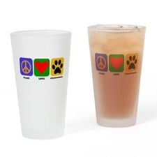 Peace Love Goldendoodle Drinking Glass