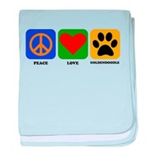 Peace Love Goldendoodle baby blanket
