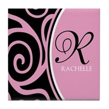 Elegant Black Pink Swirls Monogram Tile Coaster