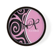 Elegant Black Pink Swirls Monogram Wall Clock