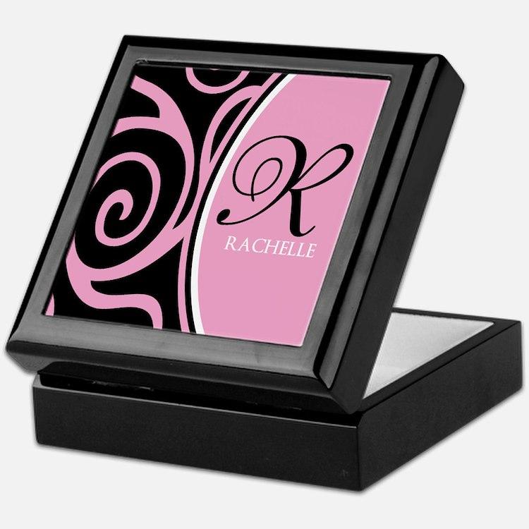 Elegant Black Pink Swirls Monogram Keepsake Box
