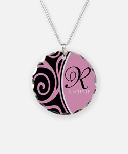 Elegant Black Pink Swirls Monogram Necklace