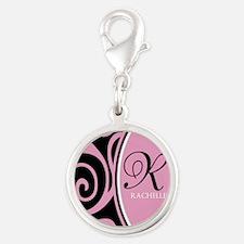 Elegant Black Pink Swirls Monogram Silver Round Ch