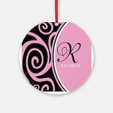 Elegant Black Pink Swirls Monogram Ornament (Round