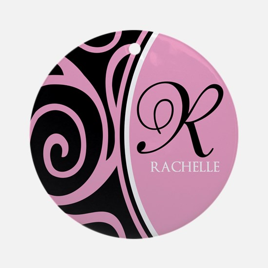 Elegant Black Pink Swirls Monogram Ornament (Round