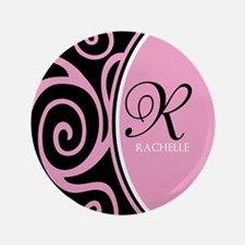 "Elegant Black Pink Swirls Monogram 3.5"" Button (10"