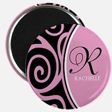 "Elegant Black Pink Swirls Monogram 2.25"" Magnet (1"