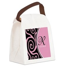 Elegant Black Pink Swirls Monogram Canvas Lunch Ba