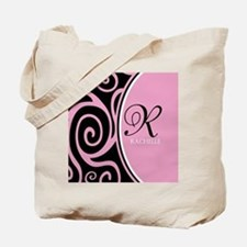 Elegant Black Pink Swirls Monogram Tote Bag