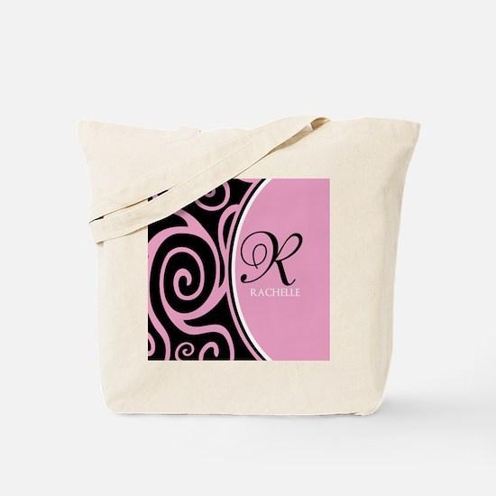 Elegant Black Pink Swirls Monogram Tote Bag