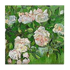 Van Gogh: Still Life - Pink Roses Tile Coaster