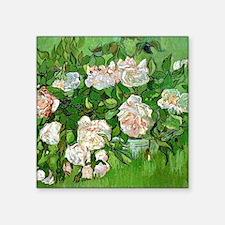 "Van Gogh: Still Life - Pink Square Sticker 3"" x 3"""