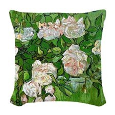 Van Gogh: Still Life - Pink Ro Woven Throw Pillow