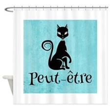 Black Kitty on Aqua Peut-etre Shower Curtain