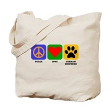 Peace Love German Shepherd Tote Bag