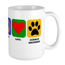 Peace Love German Shepherd Mugs