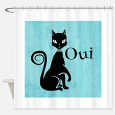 Black Kitty on Aqua Oui Yes Shower Curtain