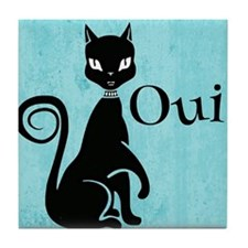 Black Kitty on Aqua Oui Yes Tile Coaster