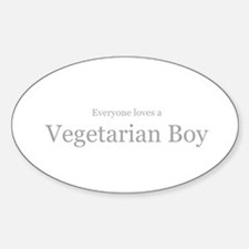 Everyone loves a vegetarian b Oval Decal