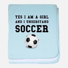 Girl Soccer baby blanket