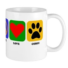 Peace Love Corgi Mugs