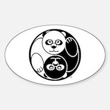 Yin and Yang Panda Oval Decal
