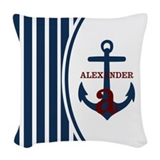 Anchor and Stripes Monogram Woven Throw Pillow