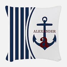 Anchor and Stripes Monogram Woven Throw Pillow