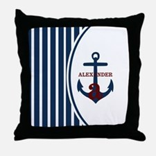 Anchor and Stripes Monogram Throw Pillow