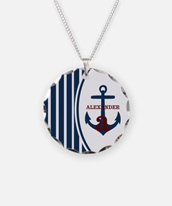 Anchor and Stripes Monogram Necklace