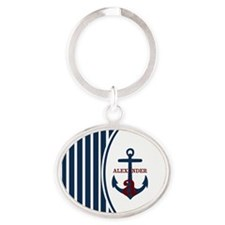Anchor and Stripes Monogram Oval Keychain